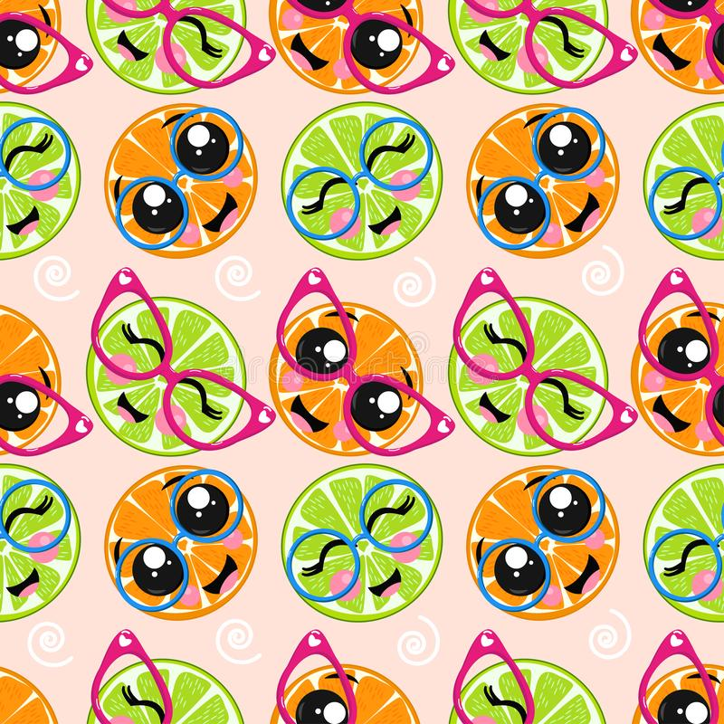 Seamless pattern with lime, orange in glasses - vector illustration, eps royalty free illustration