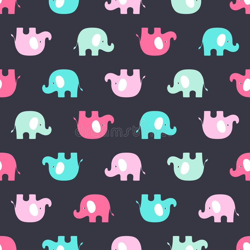 Pattern with pink and blue elephants. Seamless cute pattern with elephants, vivid background of colored elephants vector illustration