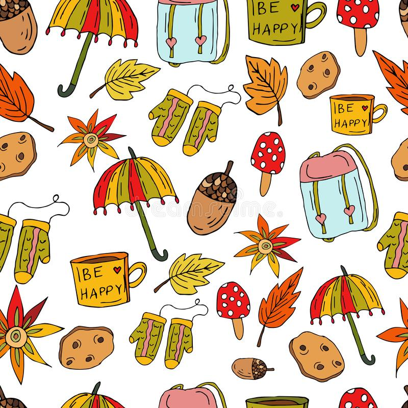 Seamless cute pattern in Scandinavian style. Umbrella, mittens, flowers, autumn leaves, a backpack, an acorn, a cup on a white vector illustration