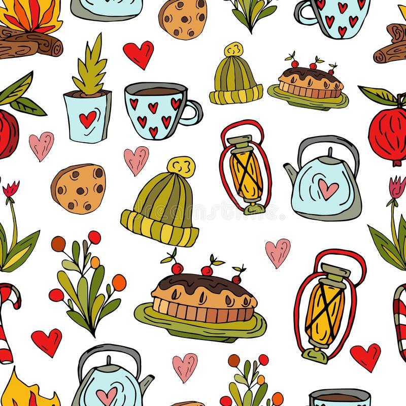 Seamless cute pattern in Scandinavian style on a white background. Cherry pie, knitted hat, cup with silver eggs, teapot, flowers royalty free illustration