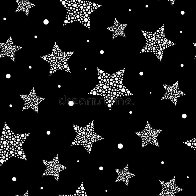 Seamless cute pattern with white stars made of dots and circles on black background. Vector illustration. Magic fireworks. glittering sky. Bright Stardust stock illustration