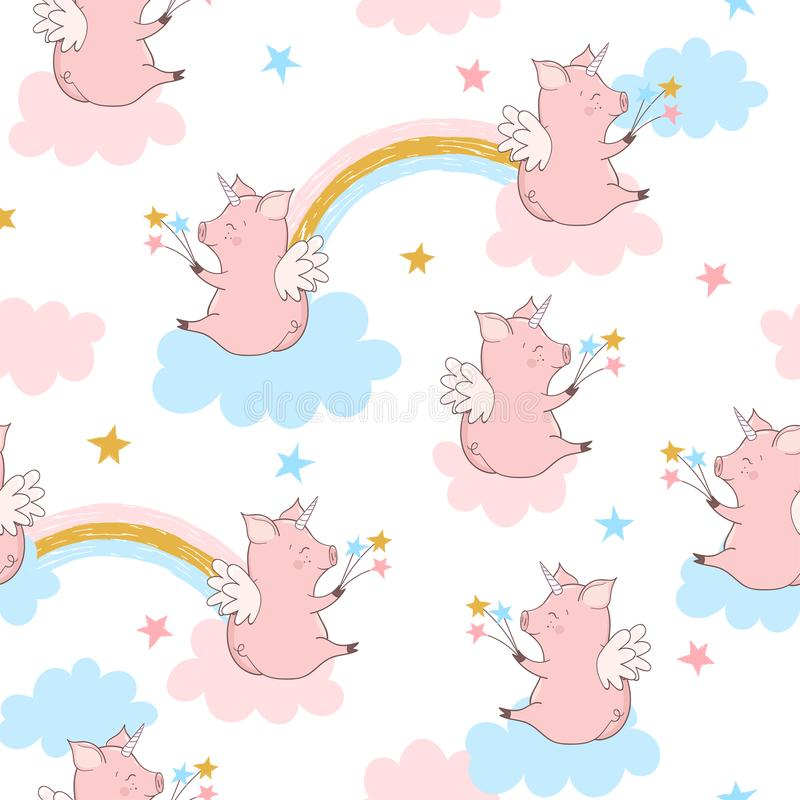 Seamless cute pig unicorn pattern. Baby print. vector illustration