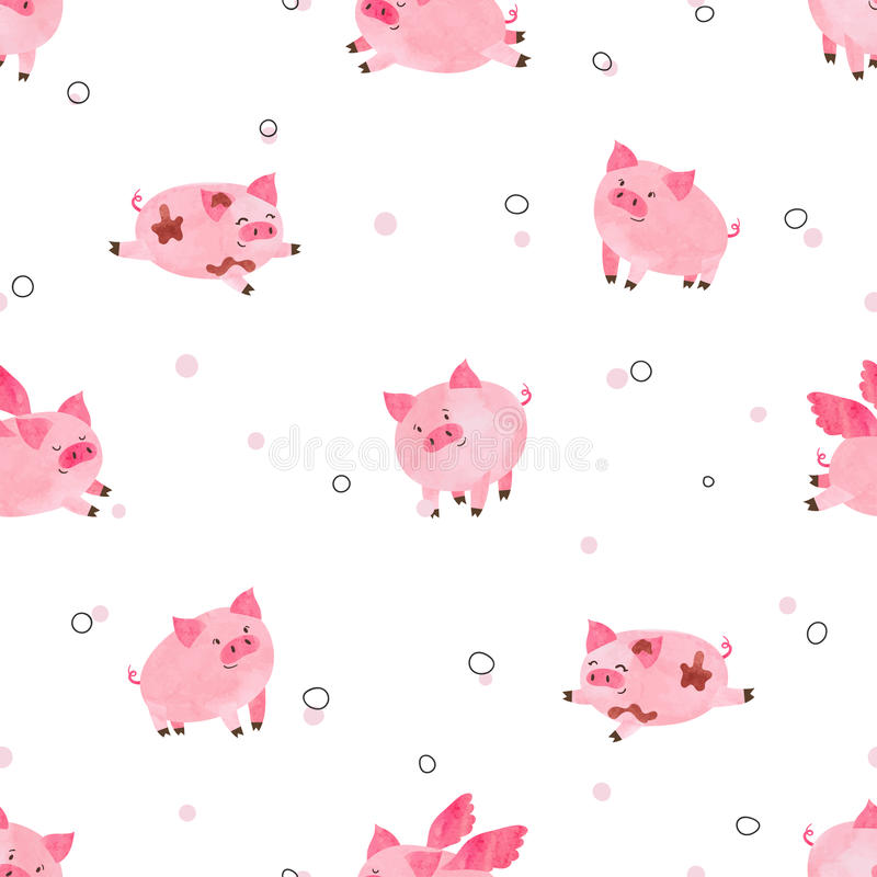 Seamless cute pigs pattern for kids design. vector illustration