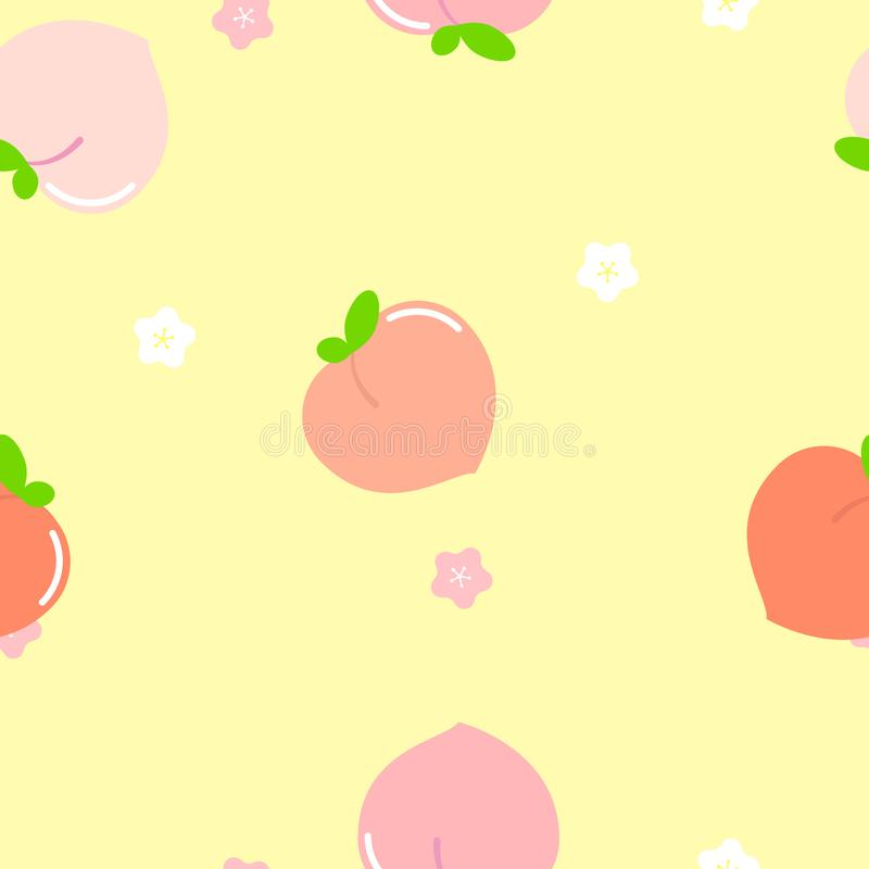 seamless cute pink, orange and white peach plum flower and fruit repeat pattern in yellow background vector illustration