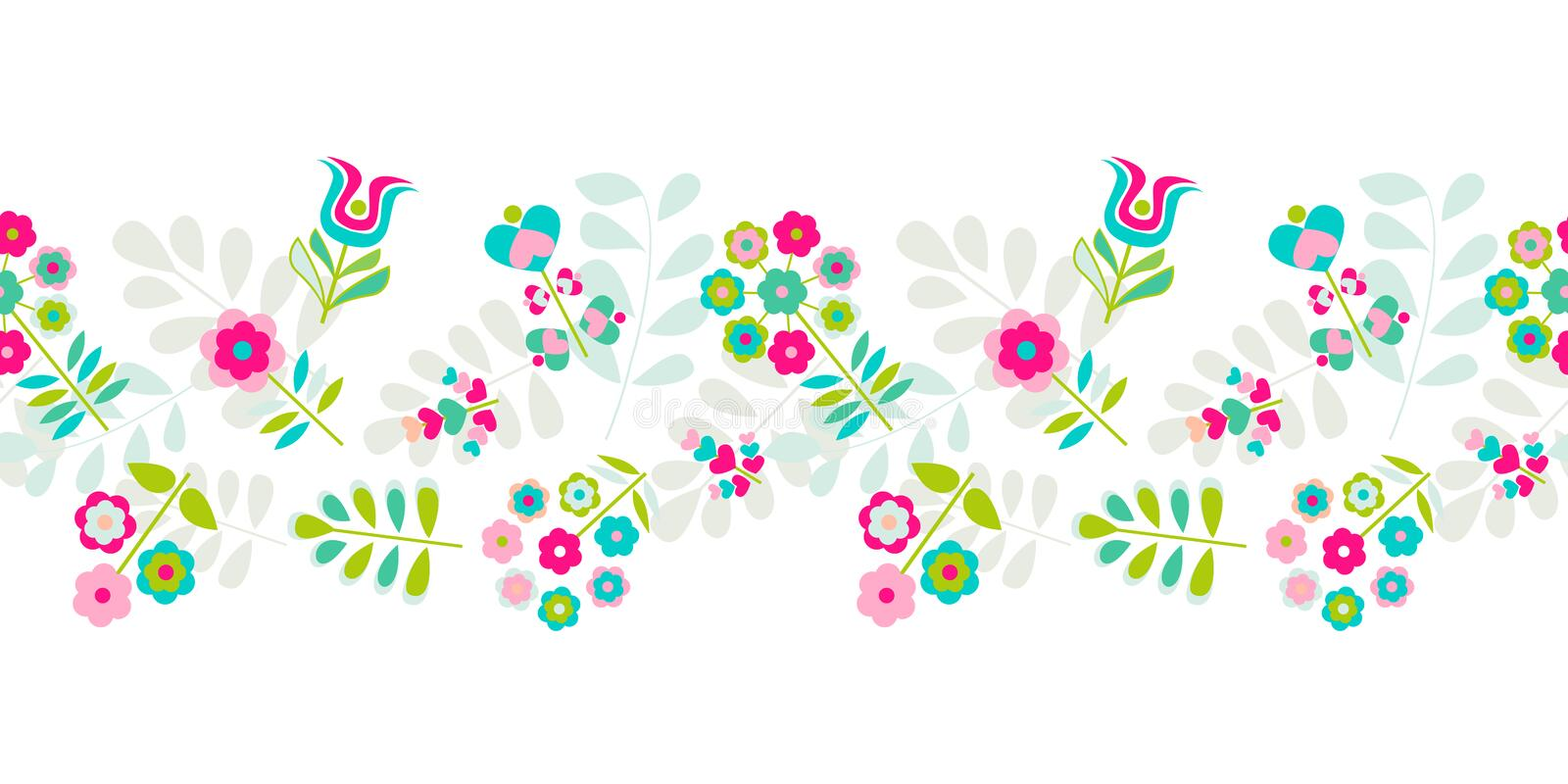 Seamless cute small flower border pattern vector illustration