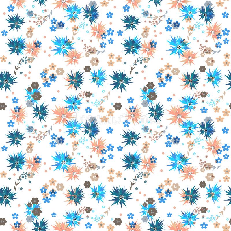 Seamless cute small flowers pattern on white stock illustration