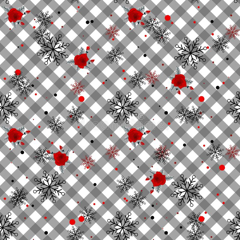 Seamless cute tartan pattern in pretty flowers. Composite overlay. Floral arrangements on plaid background. For textile, wallpaper royalty free illustration