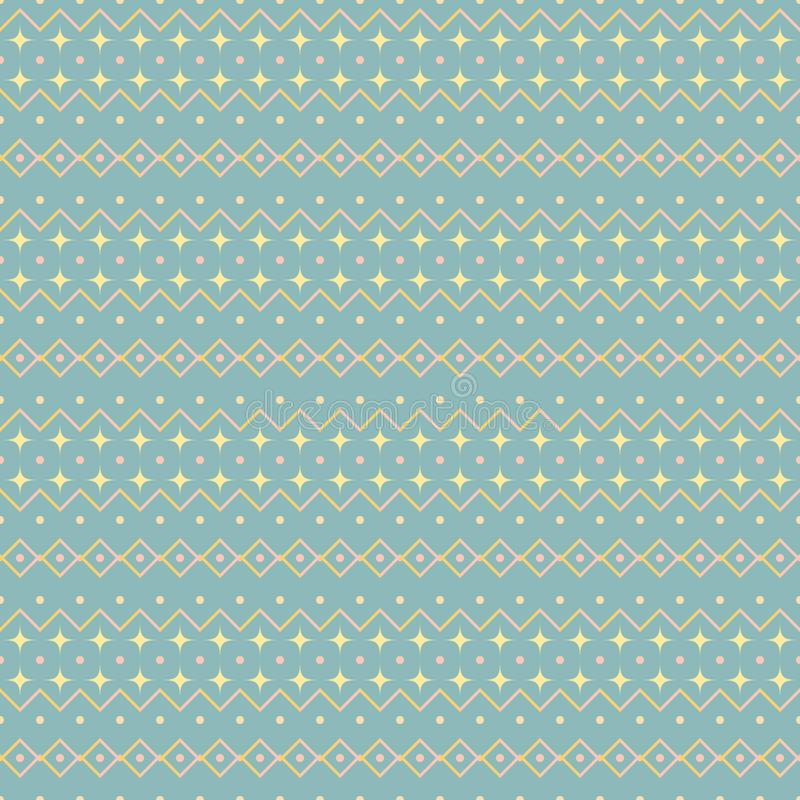 Seamless cute uncomplicated pattern in pastel colors. Seamless abstract geometric pattern. Cute uncomplicated vector print in blue, yellow, pink pastel colors stock illustration