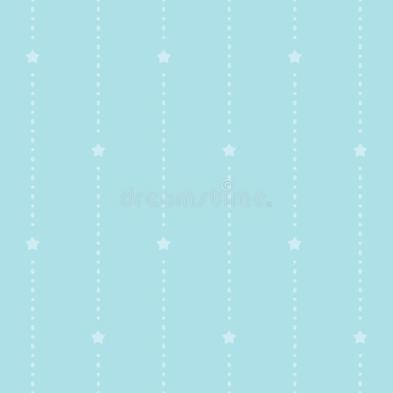Seamless cyan pattern with dotted stripes and stars. Children`s bedroom, kids nursery wallpaper. Flat, minimal and clean design. stock illustration
