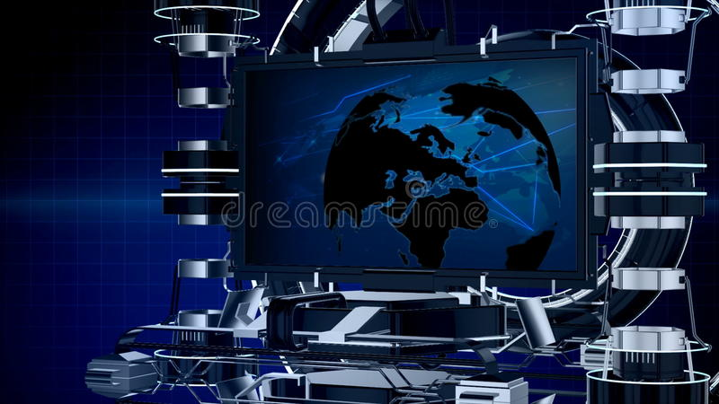 Seamless 3d animation news reporting screen television or media program  interface with mechanical stage with world map background
