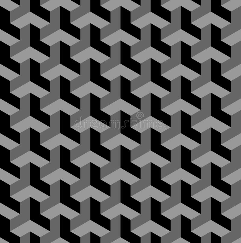 Seamless 3d Geometric Pattern Optical Illusion Black And Grey Geometric Background And Texture Stock Vector Illustration Of Polygon Grey 131438820