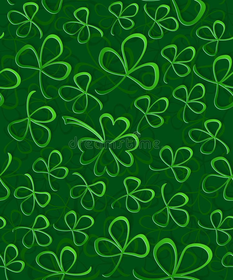 Seamless 3D green paper cut Pattern Clover for St Patrick`s Day, Shamrock wrapping paper, ornament clover foliage vector illustration