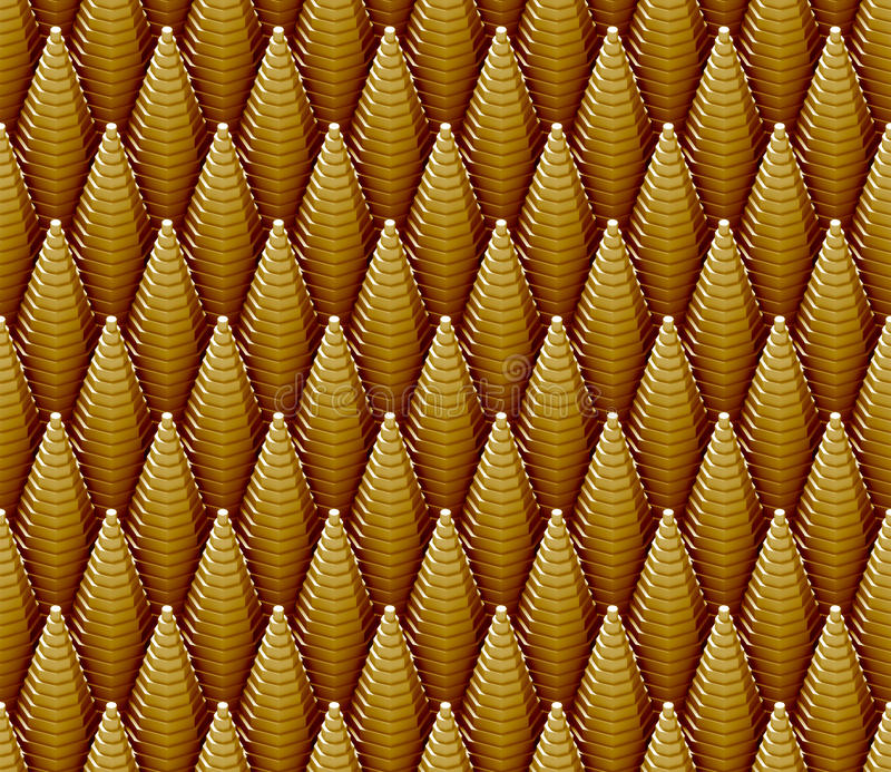 Seamless 3d pattern of golden stepped cones royalty free illustration