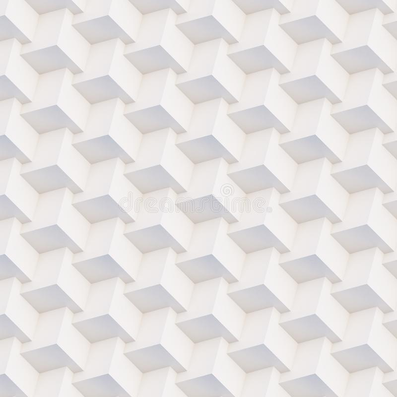 Seamless 3D pattern white and beige geometric shapes. Seamless 3D pattern made of white and beige geometric shapes, creative background or wallpaper surface made stock photo