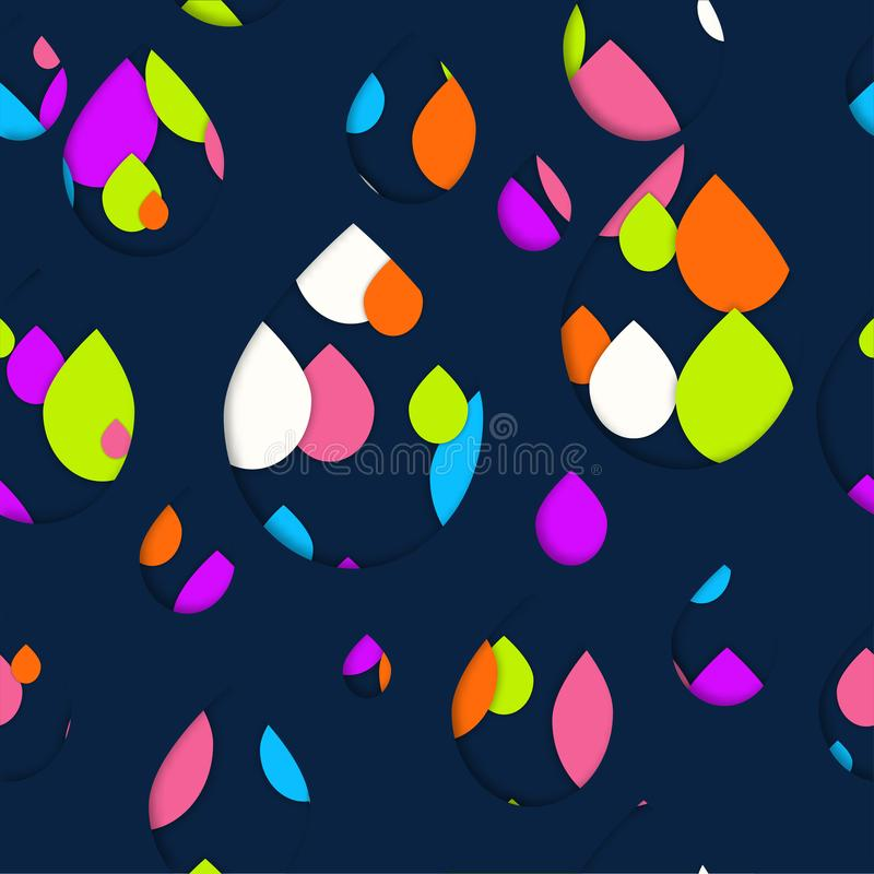 Seamless 3d pattern in trendy paper art style. Colorful drops of paint collage background. Abstract Geometric design for banner, cover, brochure, template. No vector illustration