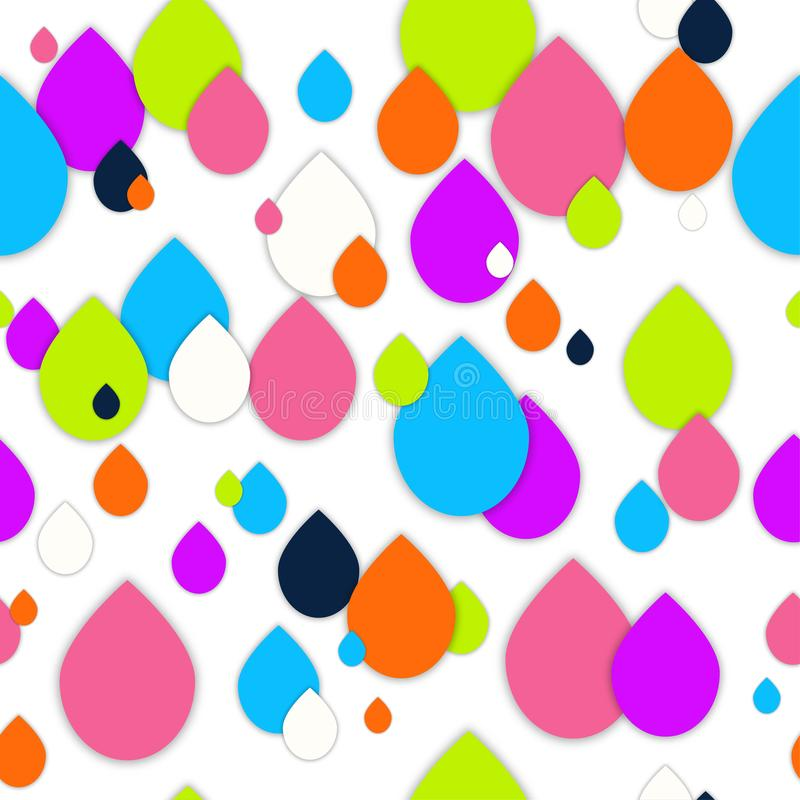 Seamless 3d pattern in trendy paper art style. Colorful drops of paint collage background. Abstract Geometric design for banner, cover, brochure, template. No stock illustration