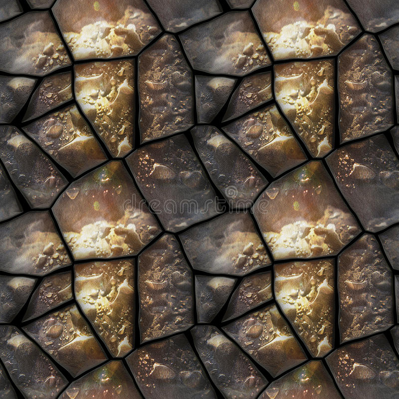 Seamless 3d relief pattern of dewy stones with water drops. Brown, black and white background with polygonal stones and water drops stock illustration