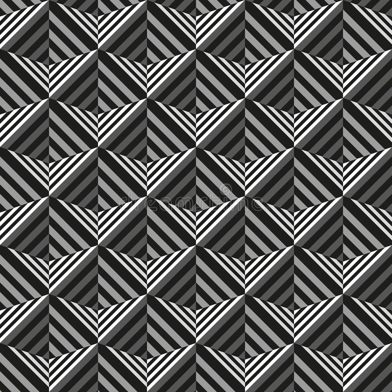 Seamless 3d square grid pattern texture. Op art design style background. royalty free illustration