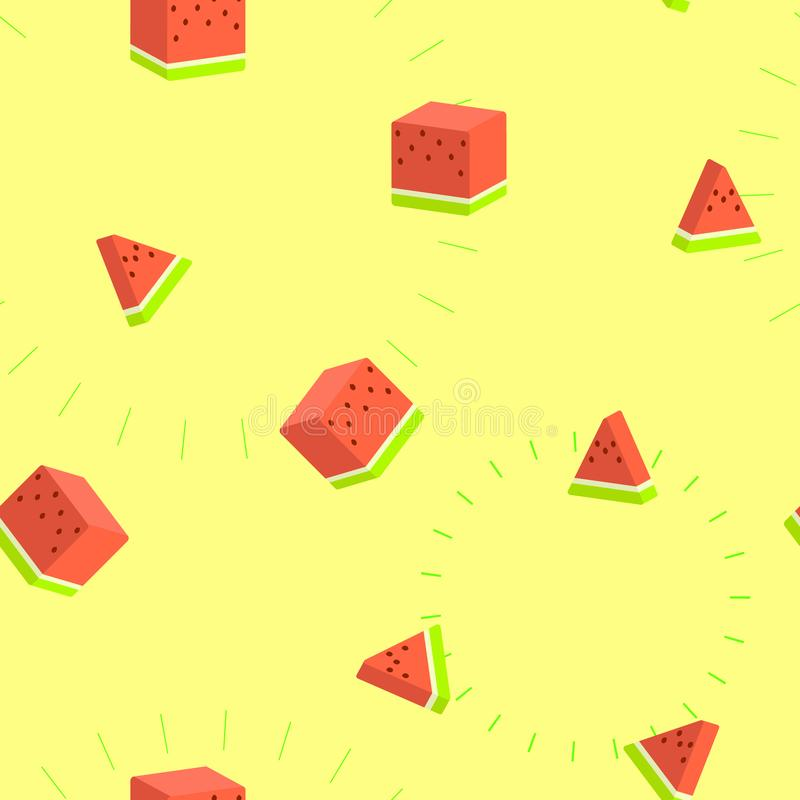 Seamless 3d square watermelon tropical fruit repeat pattern in yellow background vector illustration