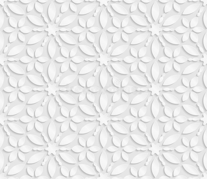 Seamless 3D white pattern, floral pattern, indian ornament, persian motif, vector. Endless texture can be used for wallpaper, pat. Tern fills, web page stock illustration