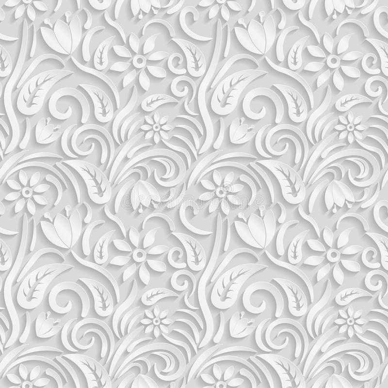 Seamless 3D white pattern, natural floral pattern, vector. Endless texture can be used for wallpaper, pattern fills, web page ba. Ckground, surface textures royalty free illustration