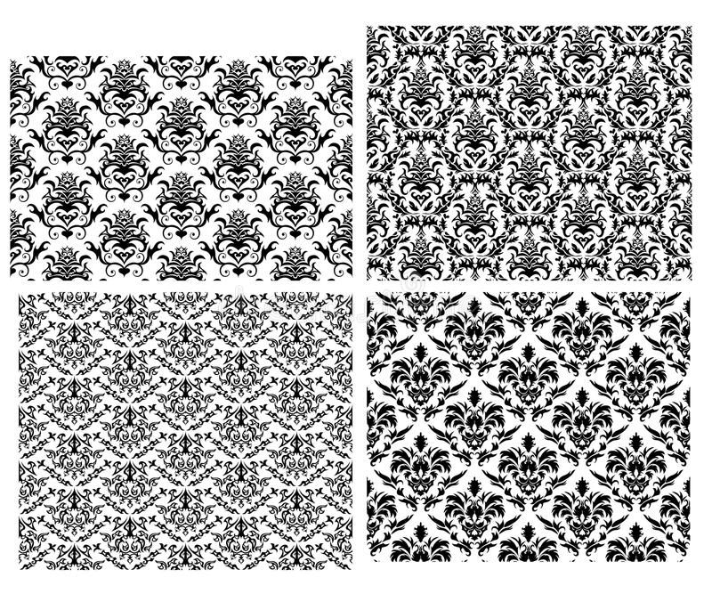 Seamless damask backgrounds set. Damask seamless vector backgrounds set. For easy making seamless pattern just drag all group into swatches bar, and use it for royalty free illustration