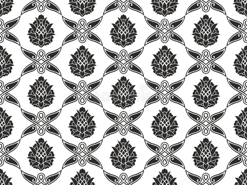 Seamless damask floral black-and-white texture stock image