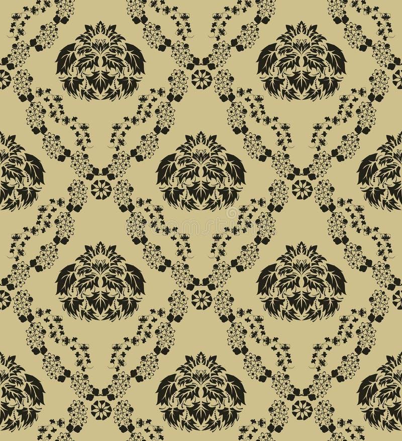 Seamless damask pattern stock photos
