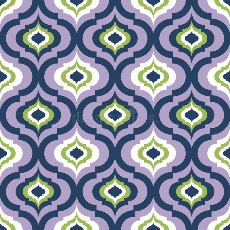 Seamless damask pattern, geometric trellis pattern, multi color seamless background, screen print vector texture royalty free illustration