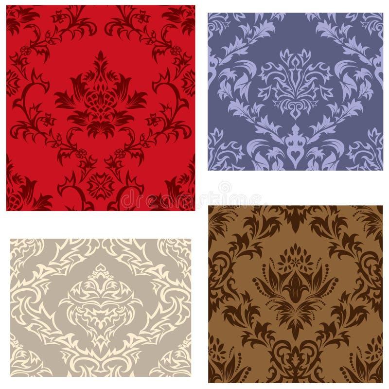 Seamless damask pattern set stock photos