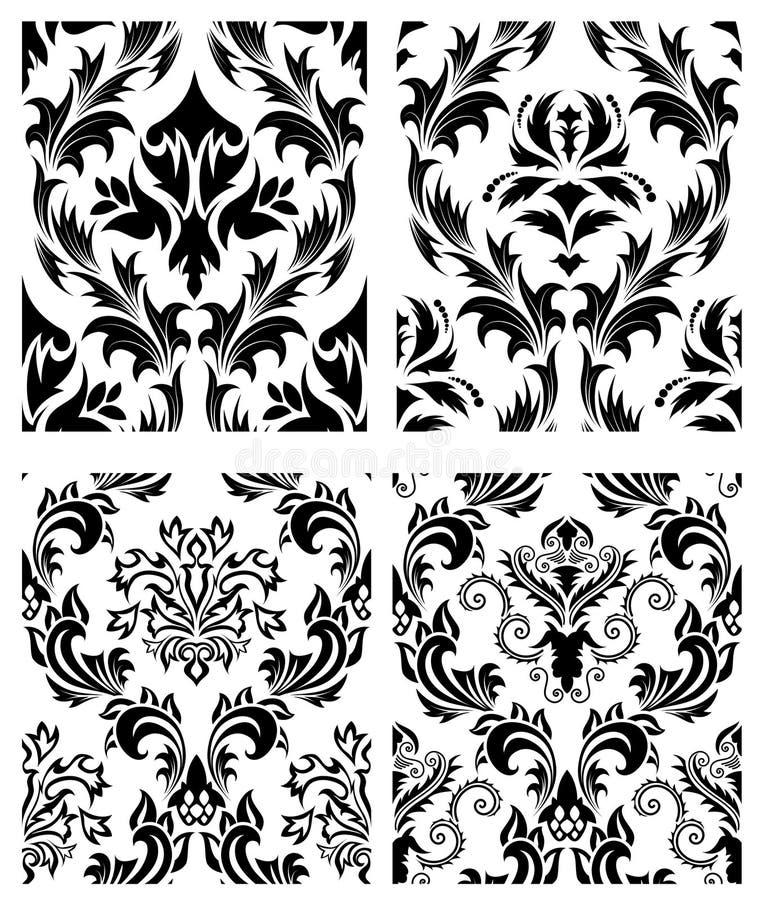 Seamless Damask Patterns Set Royalty Free Stock Photo