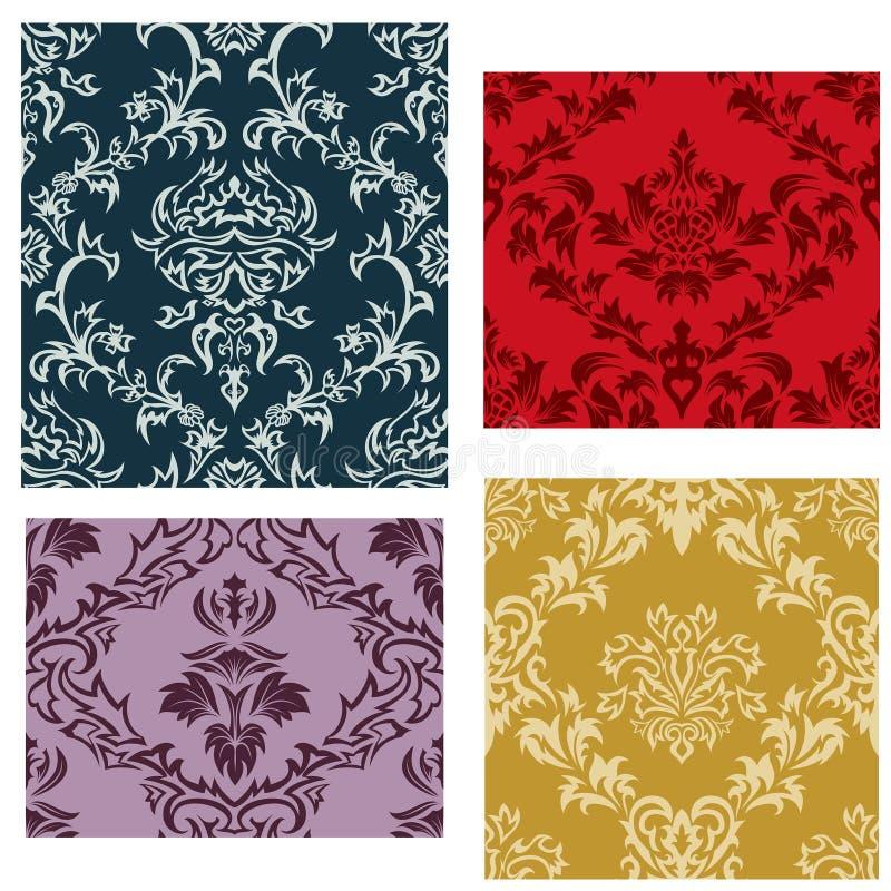 Seamless damask patterns set stock images