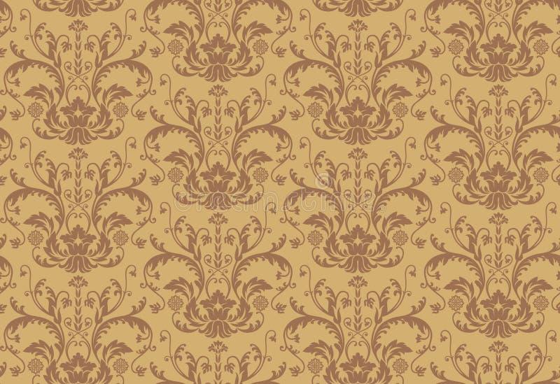 Seamless brown Damask Wallpaper pattern stock illustration