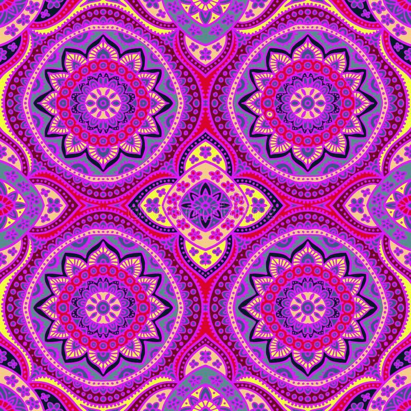 seamless damastast modell Färgtryck för textiler handgjort Vec royaltyfri illustrationer
