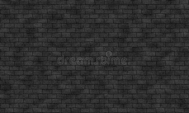Seamless dark black brick wall tile able pattern. Uneven shape. For interior, exterior render material mapping stock illustration
