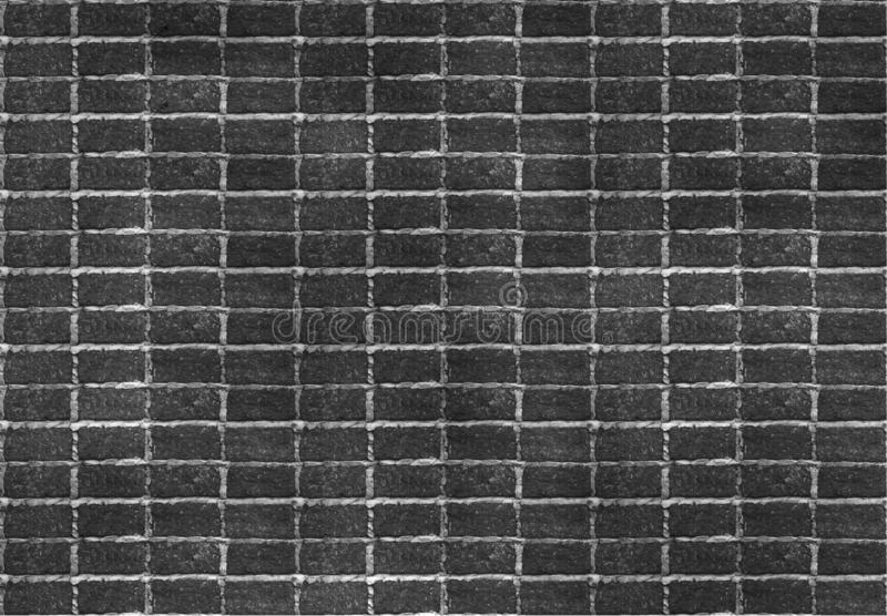 Seamless dark black brick wall tile able pattern. Uneven shape. For interior, exterior render material mapping stock image