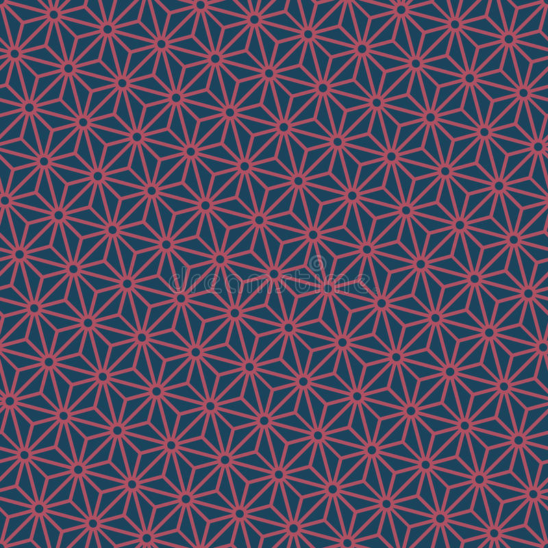 Seamless dark blue and burgundy diagonal japanese asanoha pattern vector vector illustration