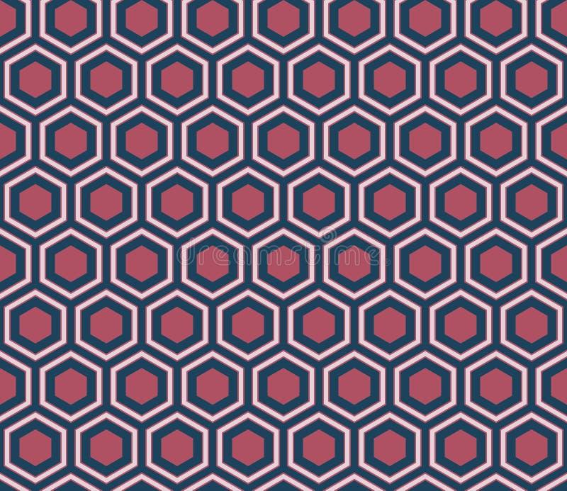 Seamless dark blue and burgundy honeycomb pattern vector illustration