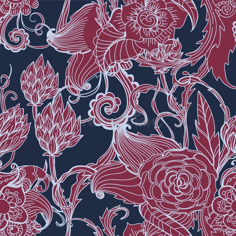 Download Seamless Dark Floral Background Stock Vector - Illustration of dark, curl: 27758163
