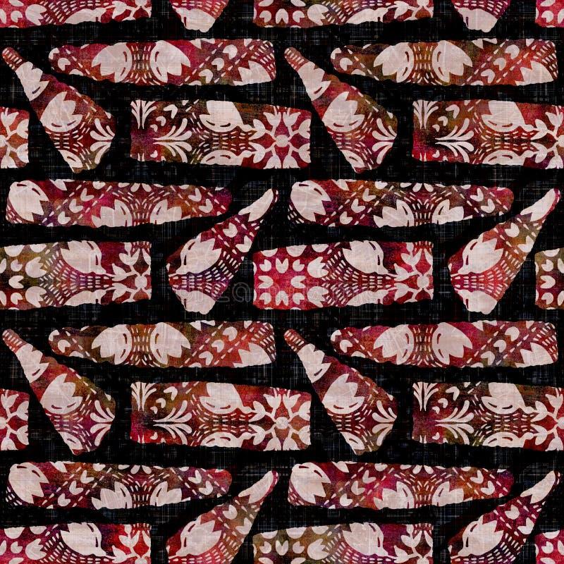 Free Seamless Dark Geometric Block Print Background. Boho Ethnic Soft Furnishing Fabric Style. Tie Dye Painterly Decorative Stock Image - 213840741