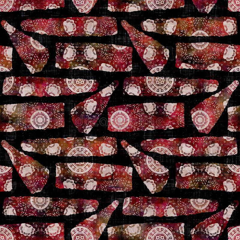 Free Seamless Dark Geometric Block Print Background. Boho Ethnic Soft Furnishing Fabric Style. Tie Dye Painterly Decorative Royalty Free Stock Photos - 214580268