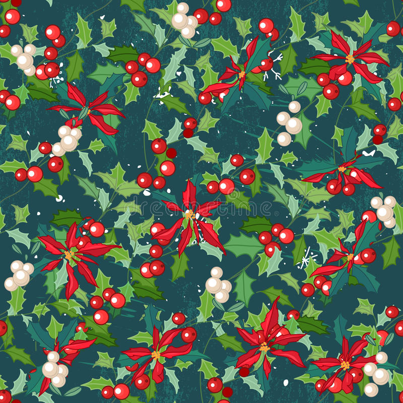 Seamless dark green pattern with traditional festive flower - Christmas star. vector illustration