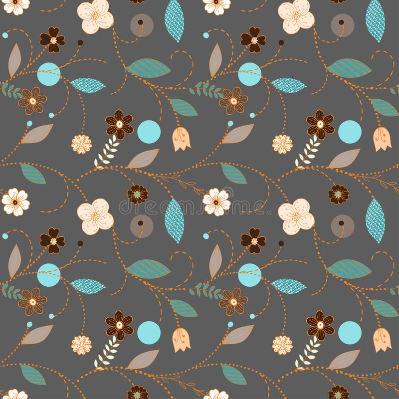 Seamless dark scandinavian floral pattern stock illustration