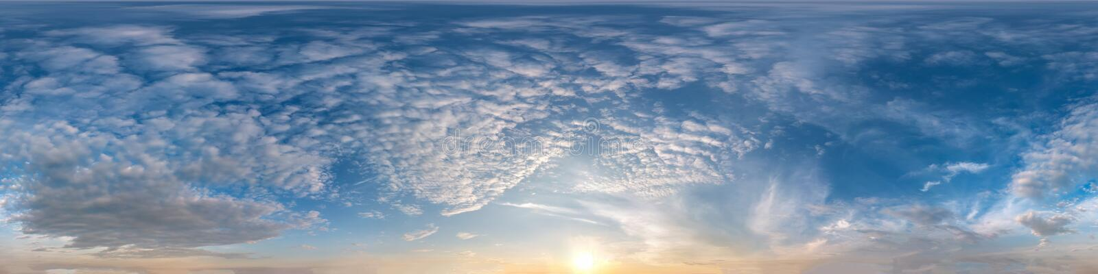 Seamless dark sky before sunset hdri panorama 360 degrees angle view with beautiful clouds for use in 3d graphics or game. Development as sky dome or edit drone stock photos