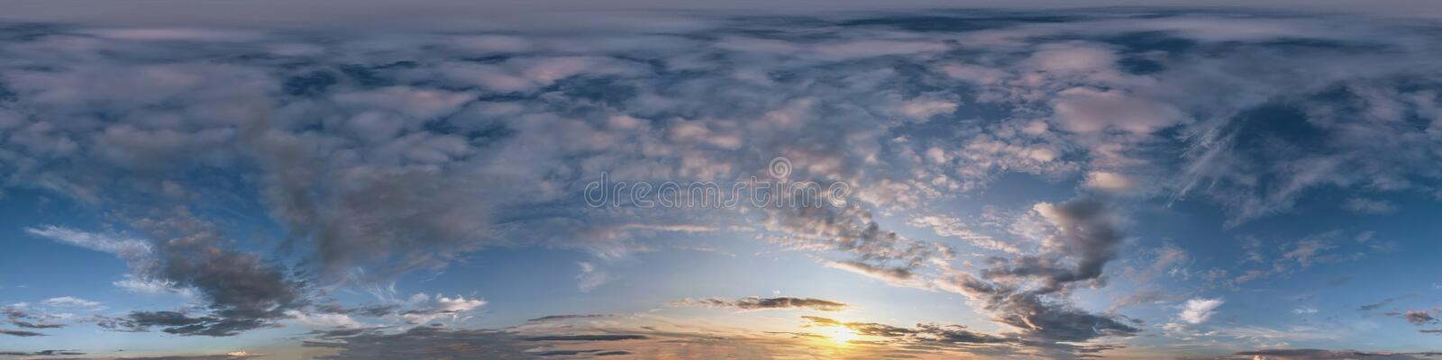 Seamless dark sky after sunset hdri panorama 360 degrees angle view with beautiful clouds  with zenith for use in 3d graphics as. Sky dome or edit drone shot stock photo