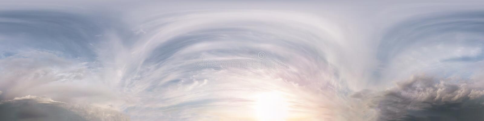 Seamless dark sky after sunset hdri panorama 360 degrees angle view with beautiful clouds  with zenith for use in 3d graphics or. Game development as sky dome stock photo