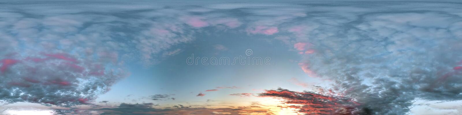 Seamless dark sky after sunset hdri panorama 360 degrees angle view with beautiful clouds  with zenith for use in 3d graphics or. Game development as sky dome stock photos