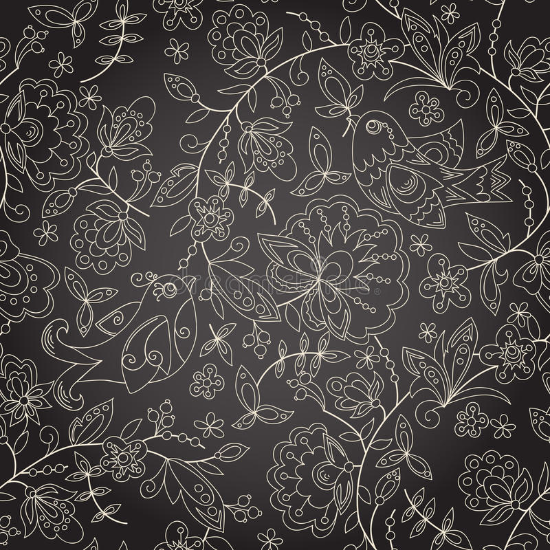 Seamless dark texture with flower vector illustration