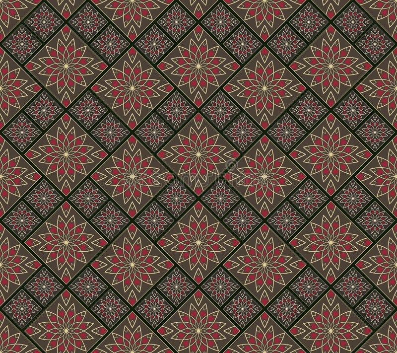 Seamless dark vintage mosaic with flower pattern. Vector template. Seamless wallpaper, wrapping paper, textile or upholstery print. Vector illustration royalty free illustration