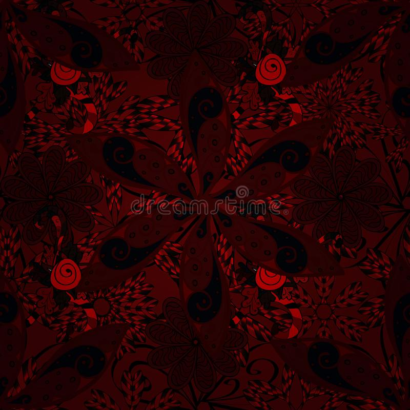 Seamless decorative background, flower mandala. On red, black and brown colors. Seamless decorative background, flower mandala. Flower. Vector illustration stock illustration